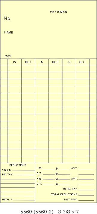 5569 single sided bi weekly time cards box of 1000 - Bi Weekly Time Cards