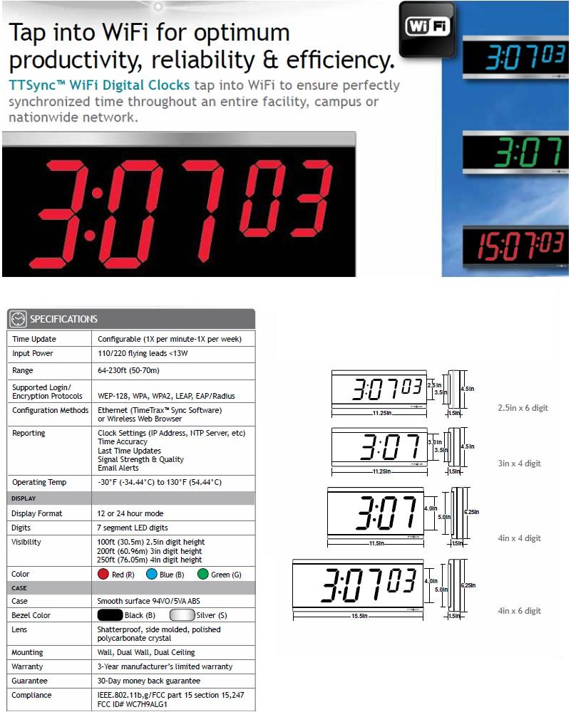 WiFi Synchronized Digital Wall Clocks Bundle