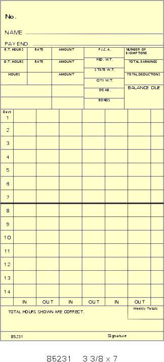 85231 single sided bi weekly time cards box of 1000 - Bi Weekly Time Cards