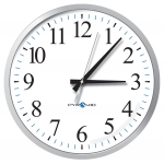 Battery Analog Clock, 12-Hr Face Silver Bezel, 13' Size