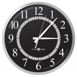 Battery Analog Clock, Silver/Black 12-Hr Face, 13' Size