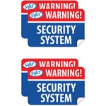 SVAT 4 Pack 'Warning Security System' Window Stickers